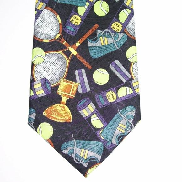 Tennis Novelty Tie Rackets Blue Necktie With Net And Green Tennis Balls